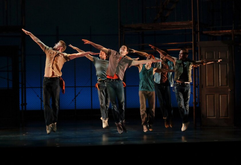 """Riff (Jeffrey Scott Parsons) and fellow Jets in a scene from San Diego Musical Theatre's """"West Side Story."""""""