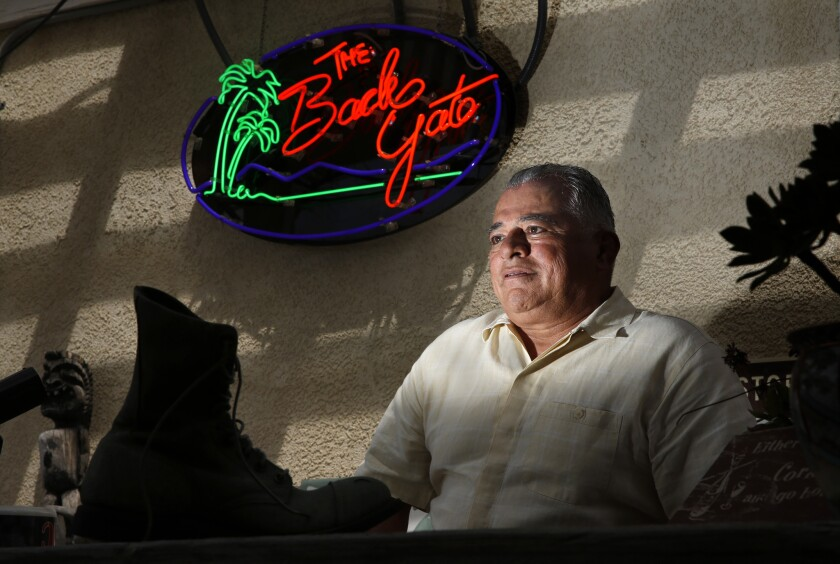 Assemblyman Rocky Chavez in his backyard bar the Back Gate, named for the nearby rear entrance to Camp Pendleton. Chavez spent 28 years in the Marines before running for City Council in Oceanside.