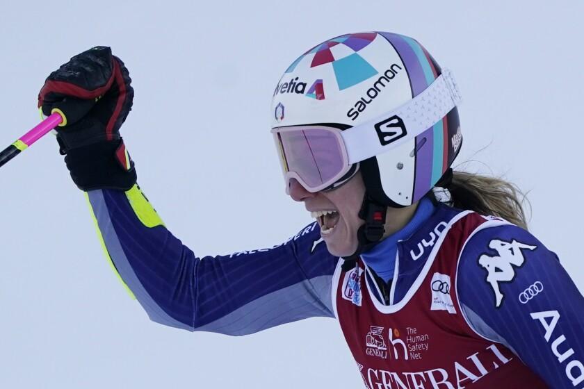 Italy's Marta Bassino reacts after winning an alpine ski, women's World Cup giant slalom, in Kranjska Gora, Slovenia, Saturday, Jan. 16, 2021. (AP Photo/Giovanni Auletta)
