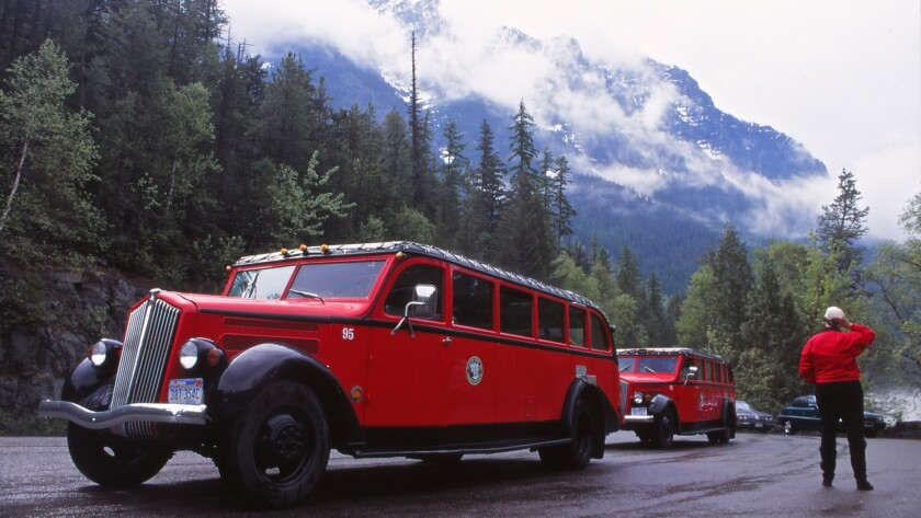 The Red Buses of Glacier National Park in Montana spend a lot of time on the park's iconic Going-to-the-Sun Road.