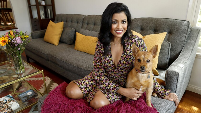"""It feels like different parts of my life all put together in a mishmash,"" the Texas-raised actress, whose parents are from India, says of her living room."