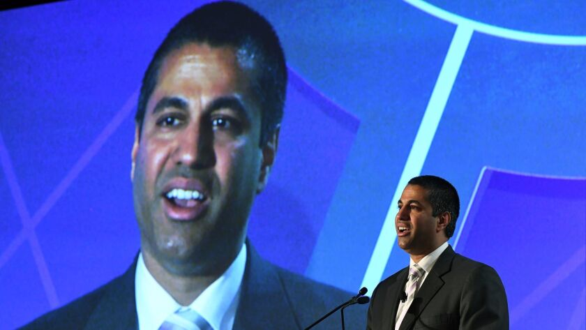 Ajit Pai, chairman of the Federal Communications Commission, speaks at the 2017 National Assn. of Broadcasters show in Las Vegas in April.