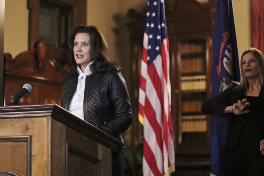 Michigan Gov. Gretchen Whitmer giving a speech in Lansing, Mich.
