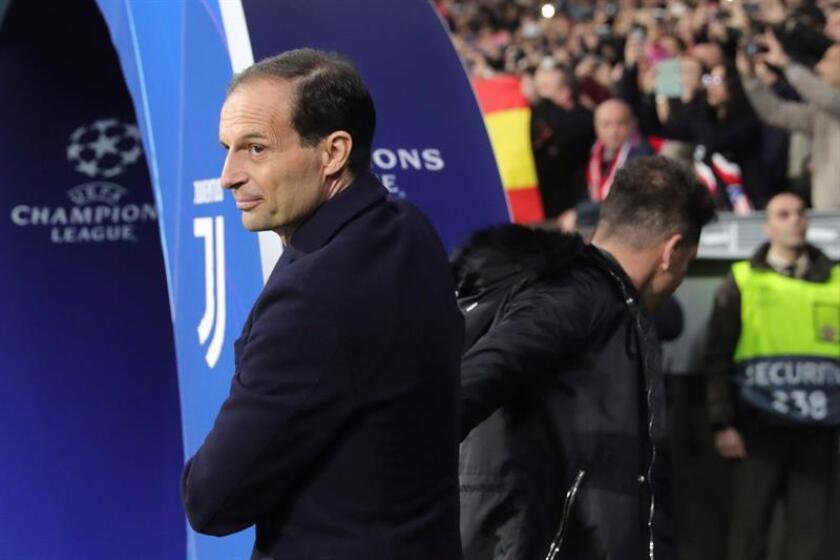 El entrenador de la Juventus Massimiliano Allegri antes del partido de ayer en el Wanda Metropolitano, en Madrid. EFE