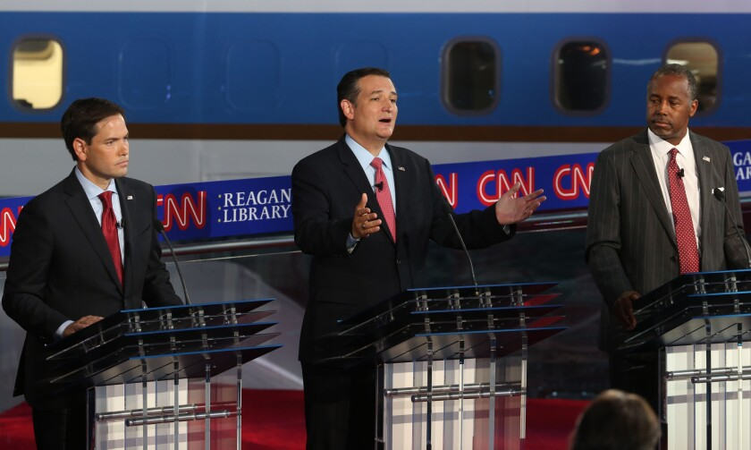 Republican presidential candidates U.S. Sen. Marco Rubio (R-FL), U.S. Sen. Ted Cruz (R-TX) and Ben Carson take part in the presidential debates at the Reagan Library on September 16 in Simi Valley, California.