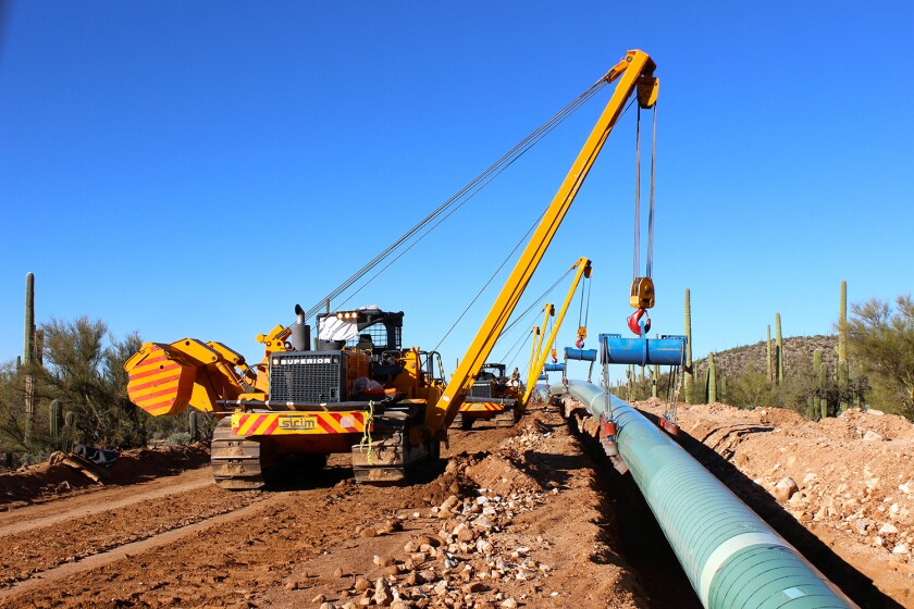 Construction work on an IEnova natural gas pipeline in Mexico.