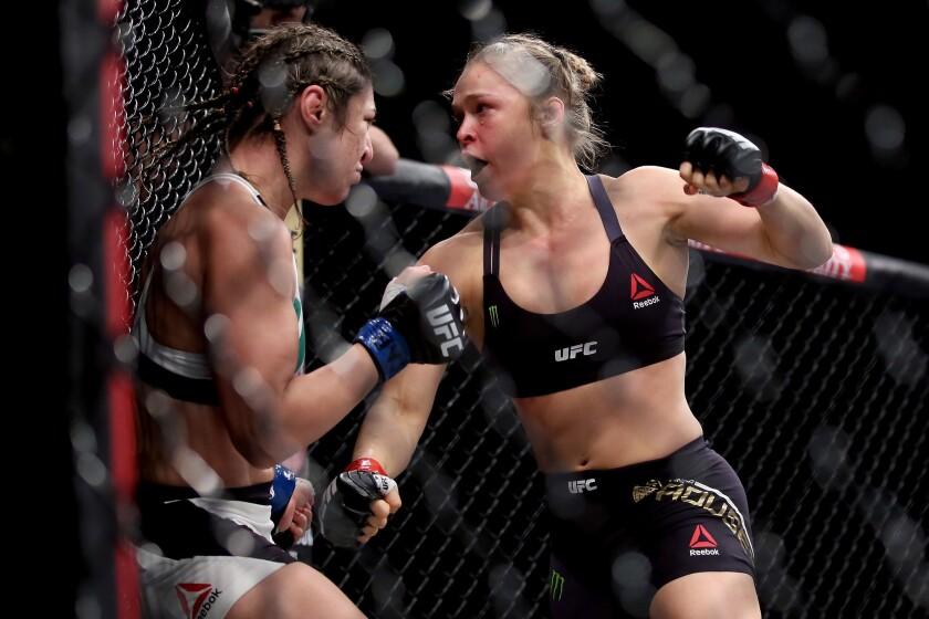 Ronda Rousey, right, defeated Bethe Correia at UFC 190 in Rio de Janeiro, Brazil.