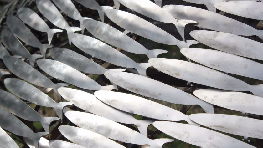 A detail of the fish sculpture in Nicolás Camino's 'Collective Consciousness' series, on exhibit at