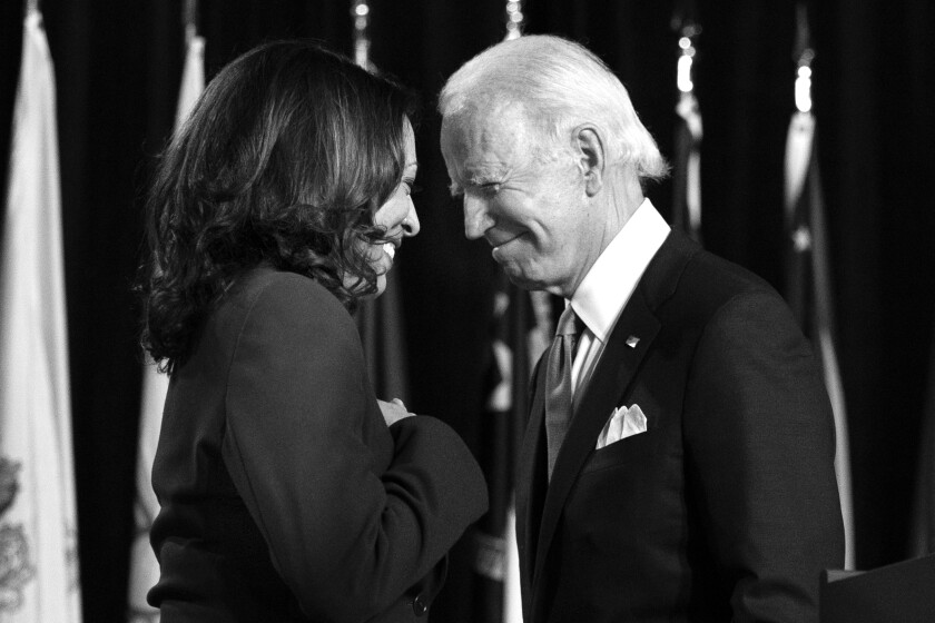 Democratic presidential candidate former Vice President Joe Biden and his running mate Sen. Kamala Harris (D-Calif.)