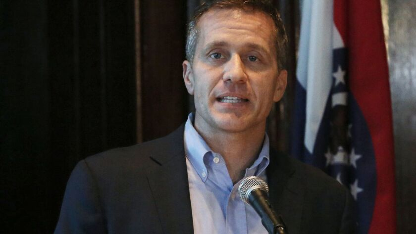 Missouri Gov. Eric Greitens speaks at a news conference about allegations related to his extramarita