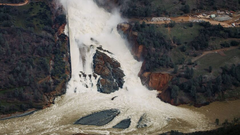 An aerial view of the water flowing out of the Oroville Dam main spillway in February 2017.