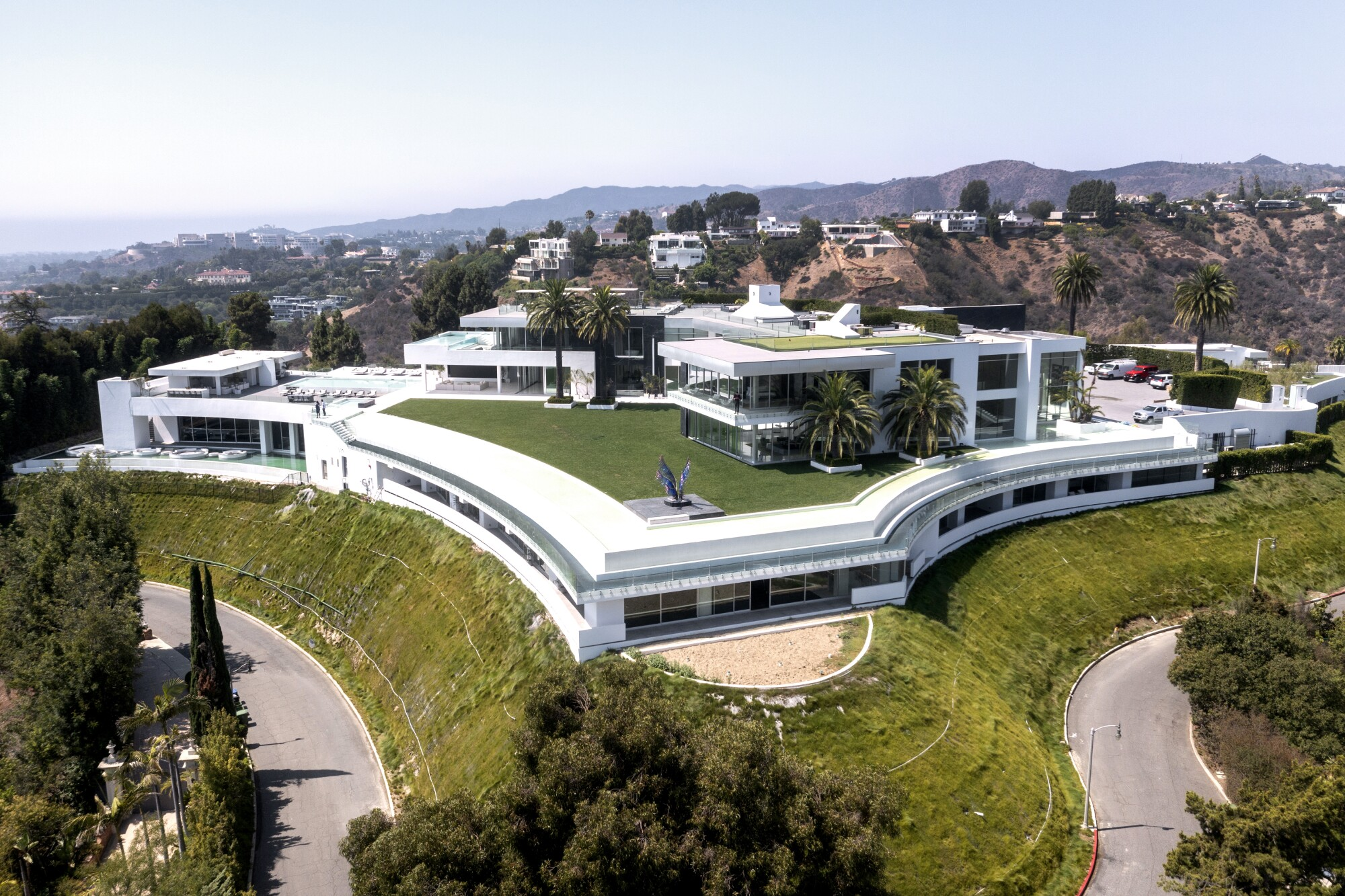 An aerial view of The One in Bel-Air, Calif.