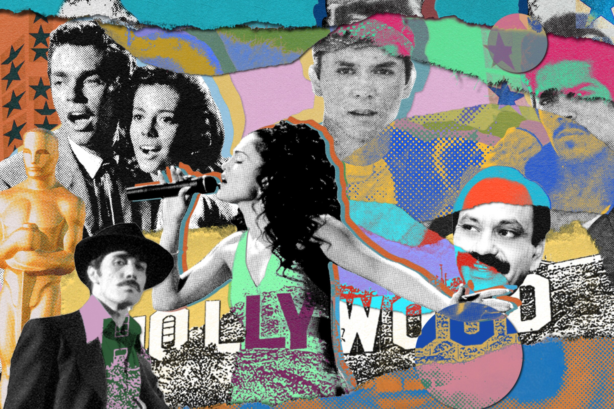 """A collage illustration that pictures Latino-forward films and TV shows including """"Zoot Suit"""" and """"Selena."""""""