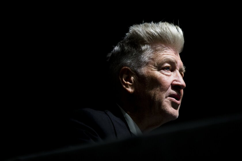 David Lynch speaks during a press preview of David Lynch: The Unified Field, Wednesday, Sept. 10, 2014, at his former school The Pennsylvania Academy of the Fine Arts (PAFA) in Philadelphia. The show is schedule to be on view from Sept. 13, 2014 to Jan. 11, 2015, and is the first major U.S. museum exhibition of the filmmaker and PAFA alumnus' work. (AP Photo/Matt Rourke)