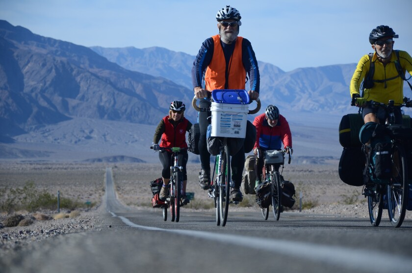 These cyclists chose December for a 2014 ride near Furnace Creek in Death Valley.