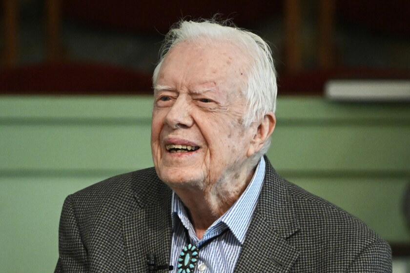 President Carter teaches Sunday school Nov. 3 at Maranatha Baptist Church in Plains, Ga. He and his wife, Rosalynn, have been back at church since December.