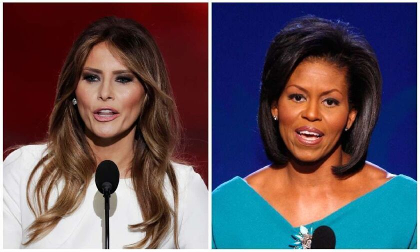 In this combination of photos, Melania Trump, left, wife of Republican Presidential Candidate Donald Trump, speaks during the opening day of the Republican National Convention in Cleveland, Monday, July 18, 2016, and Michelle Obama.