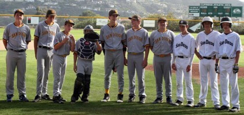 Ten Pony-division players are recognized at their last home game after playing a 'Decade on the Diamond' at La Jolla Youth Baseball. Not pictured in order are Cole Dimich, Reed Farley, Carson Greene, Dane Hansen, Sterling Hayes, Noah McBride, Daniel McColl, Dmitri Menas, John Murphy and Nick Palmer