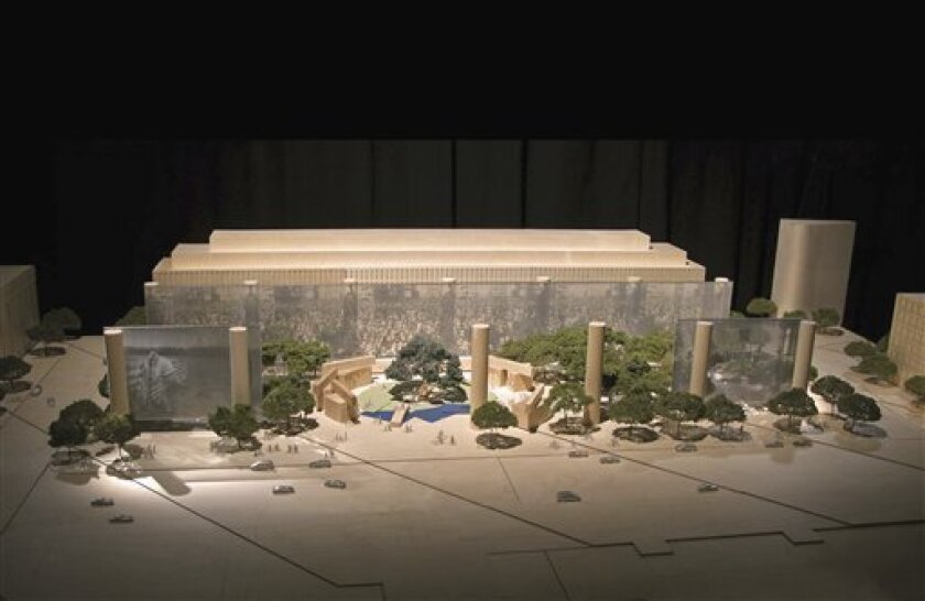 This artist rendering provided by the Eisenhower Commission shows a model for the national memorial to be built in Washington for President Dwight D. Eisenhower. President Dwight D. Eisenhower's family wants to halt the planning of a memorial honoring the 34th president because they object to the design. (AP Photo/Eisenhower Commission) NO SALES