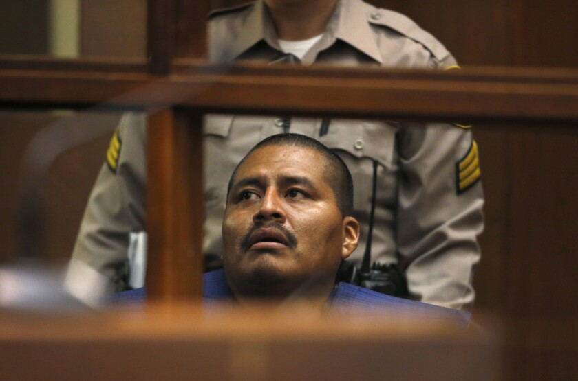 Luiz Fuentes at a 2015 court hearing in downtown Los Angeles.