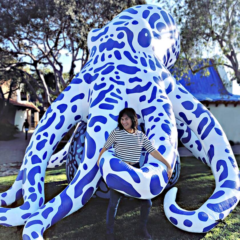 "San Diego-based artist Jessica Ling Findley with her large, inflatable installation for her ""The Tiny Made Mighty"" piece."