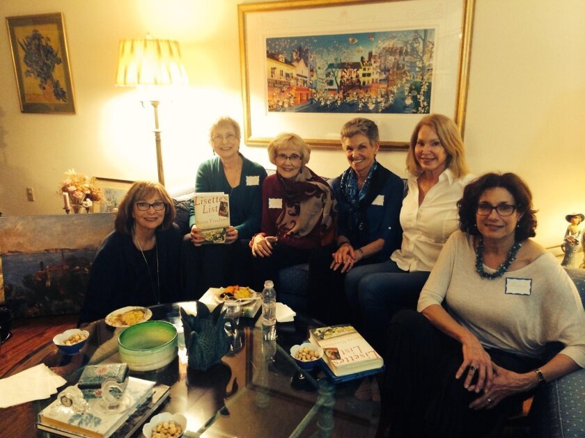 Melinda Underkofler, Phyllis Ingram, guest author Susan Vreeland (Lisettes's List), Karen McCracken, Kathleen Liss and Rachel Perlmutter at a book group meeting May 19 at the home of Carolyn Blumenthal in La Jolla