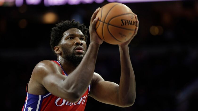 Philadelphia 76ers' Joel Embiid in action against the Detroit Pistons on Friday.