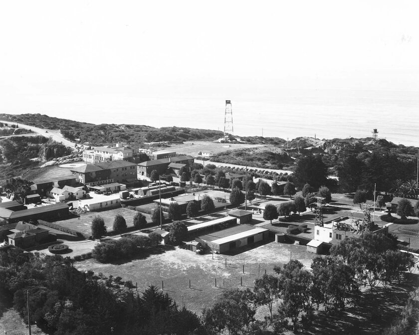 Navy Radio Station Point Loma, on right, and Navy Radio and Sound Laboratory, on left, in the 1940s.