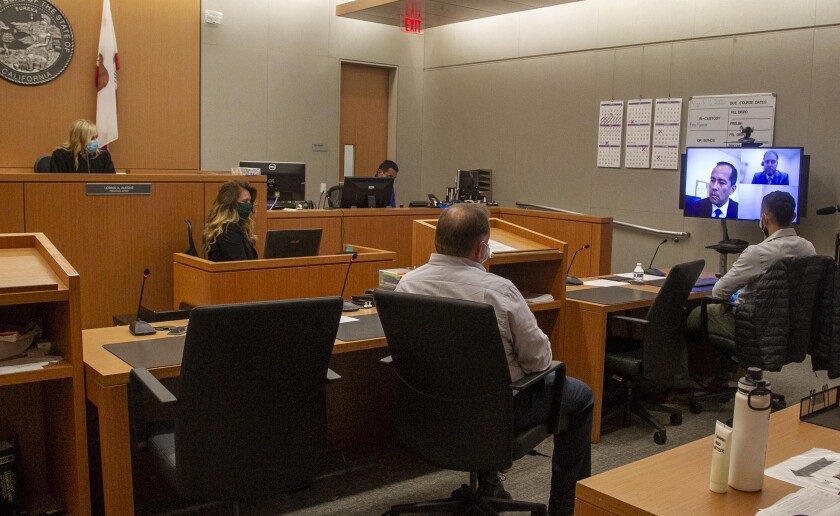 Presiding judge Lorna Alskne held the first video court case in San Diego due to the COVID-19 pandemic on Monday, April 6. Attorneys and the defendant appeared via video.