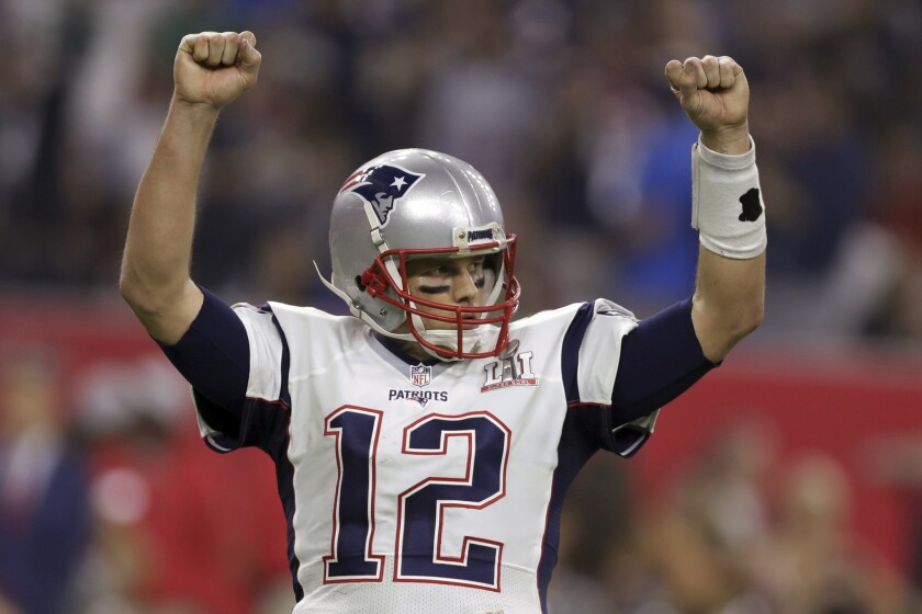 Patriots quarterback Tom Brady reacts after a two-point conversion during the fourth quarter in Super Bowl LI.