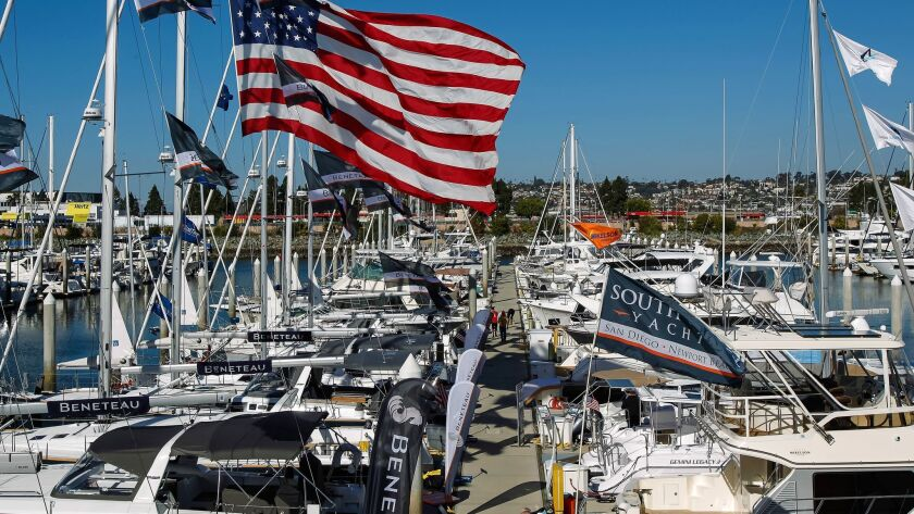 SAN DIEGO, CA January 25th, 2017 | Flags are flying as crews prepare Wednesday for the Sunroad Marin