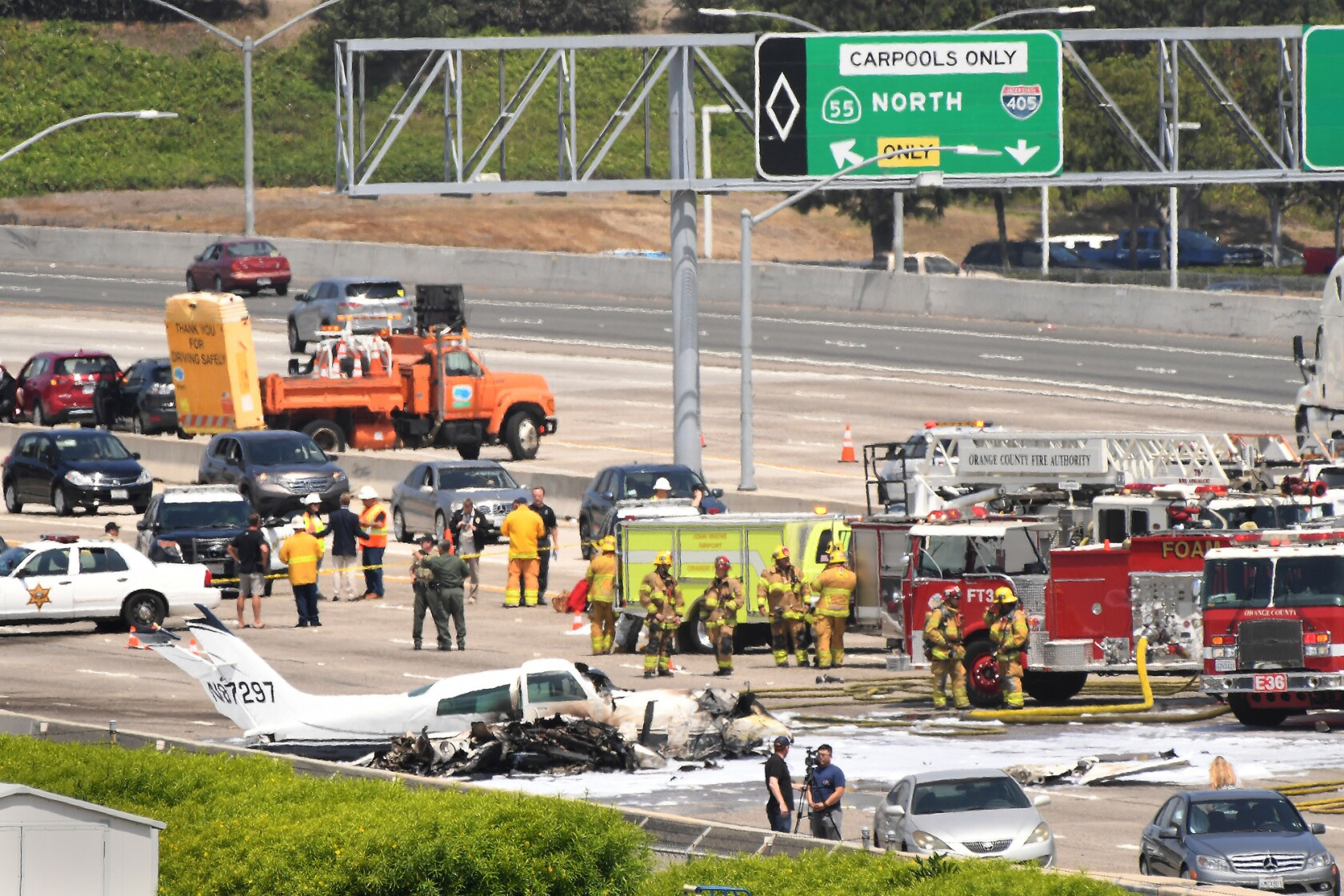We got a mayday!' Small plane crashes onto 405 Freeway in