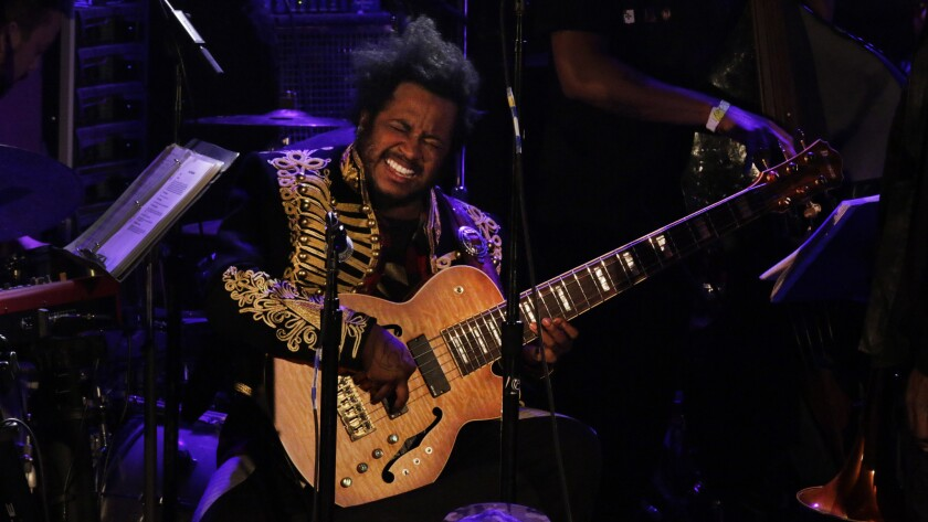 """Stephen """"Thundercat"""" Bruner playing in the Kamasi Washington's show at the Regent in Los Angeles last month. Thundercat will appear at the just-announced Low End Theory Festival at Exposition Park."""