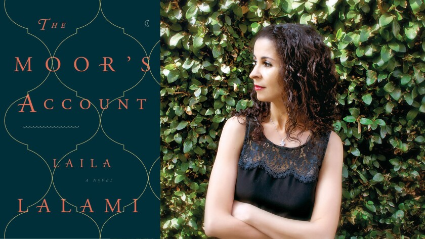 "The cover of ""The Moor's Account"" and author Laila Lalami."