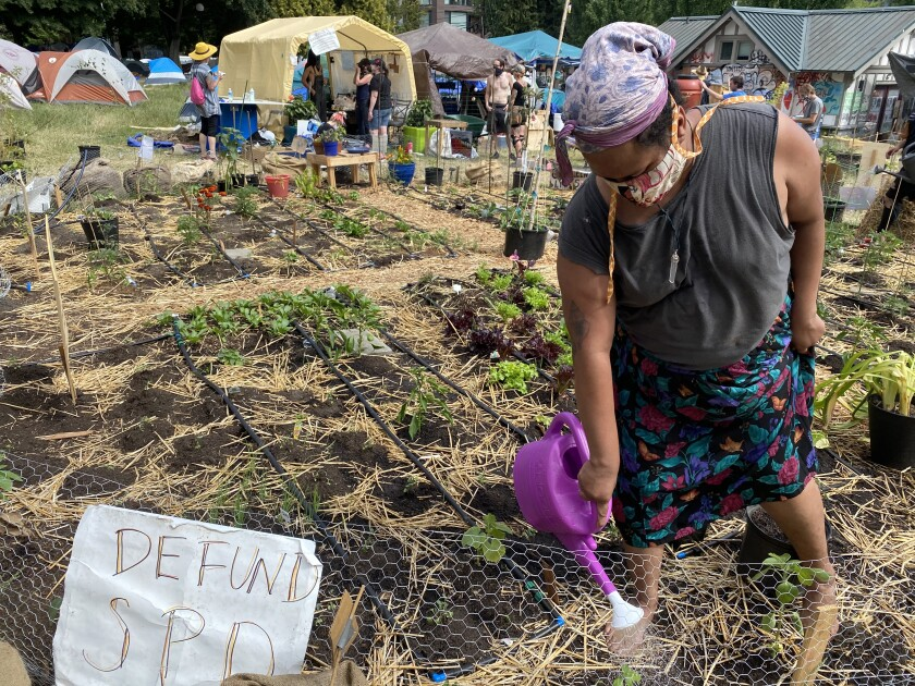 Volunteer Maria Gardner, 37, waters a community vegetable garden Tuesday, June 23, in Seattle's protest zone.