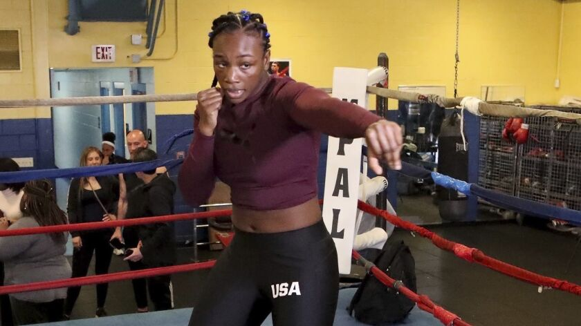Claressa Shields works out in Atlantic City, N.J., Thursday, April 11, 2019. Shields faces Christina