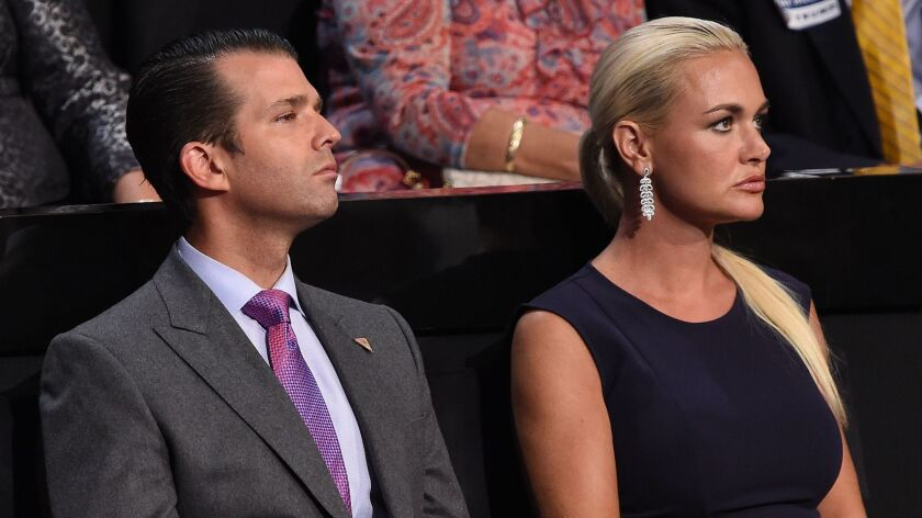 Donald Trump Jr. and his wife, Vanessa Trump, attend the Republican National Convention in Cleveland on July 21, 2016.