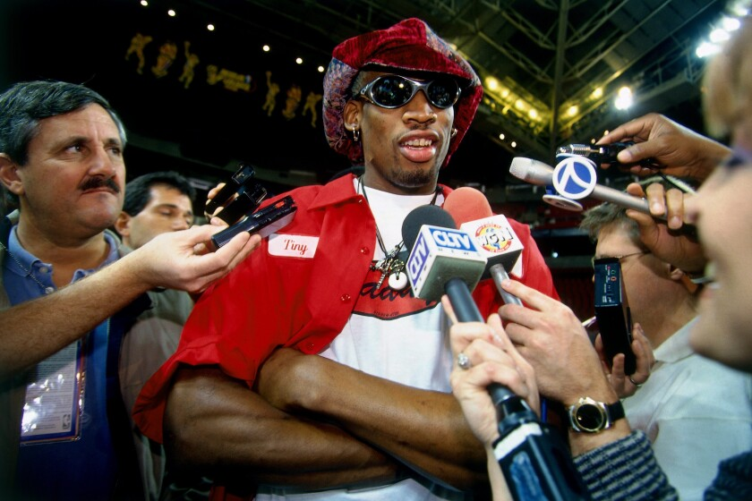 """Dennis Rodman's loud hats are just one of the memorable sartorial choices depicted in ESPN's docuseries """"The Last Dance,"""" about Michael Jordan and the Chicago Bulls."""