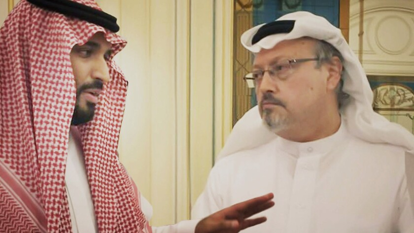 "This image released by Briarcliff Entertainment shows Saudi Crown Prince Mohammed bin Salman, left, with journalist Jamal Khashoggi in a scene from the documentary ""The Dissident."" (Briarcliff Entertainment via AP)"