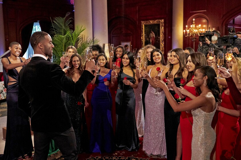 Matt James, the most recent lead of 'The Bachelor,' toasting the contestants on his season