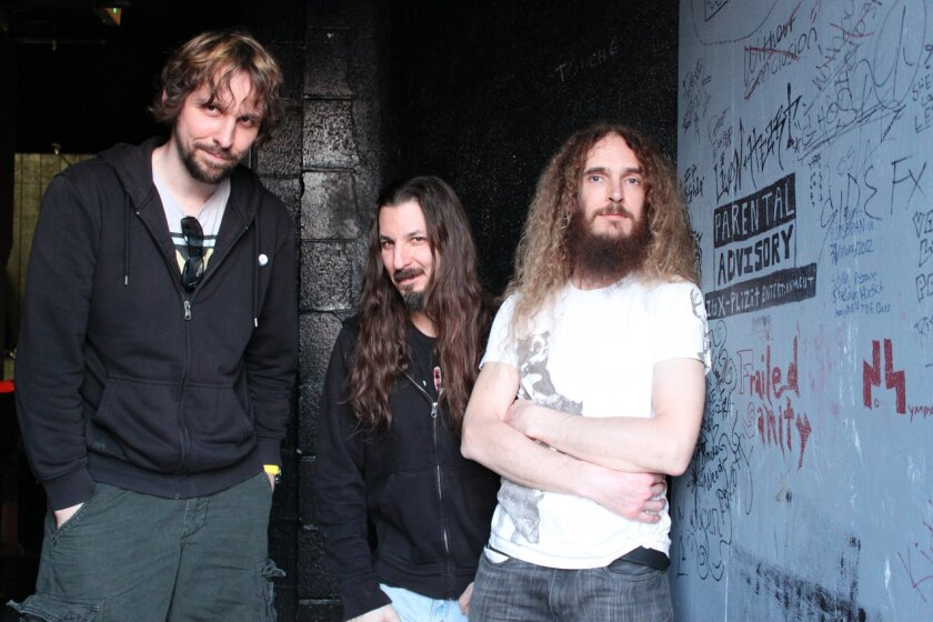 The Aristocrats from left: Marco Minnemann on drums, Bryan Beller on bass, and Guthrie Govan on guitar. Photo: Jennifer Young