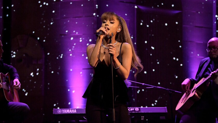 Ariana Grande performs a three-song set at the Tiffany & Co. bash celebrating the official unveiling of the recently renovated Rodeo Drive boutique.