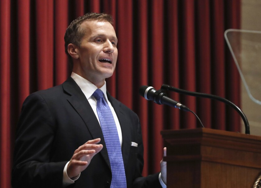 In this Jan. 10, 2018, photo, Missouri Gov. Eric Greitens delivers the annual State of the State address to a joint session of the House and Senate in Jefferson City, Mo.