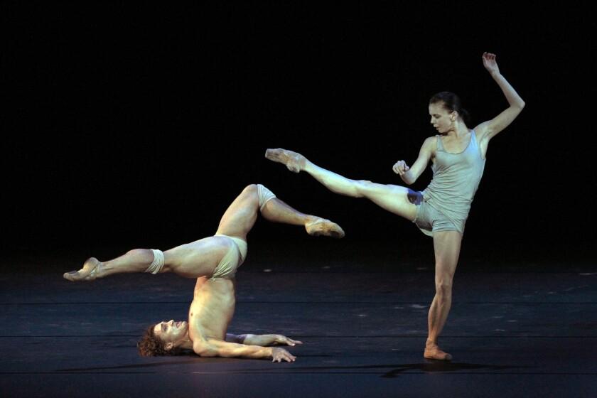Former Bolshoi stars Natalia Osipova, right, and Ivan Vasiliev perform dances by such choreographers as Sidi Larbi Cherkaoui, Ohad Naharin and Arthur Pita at the Segerstrom Center for the Arts in Costa Mesa.