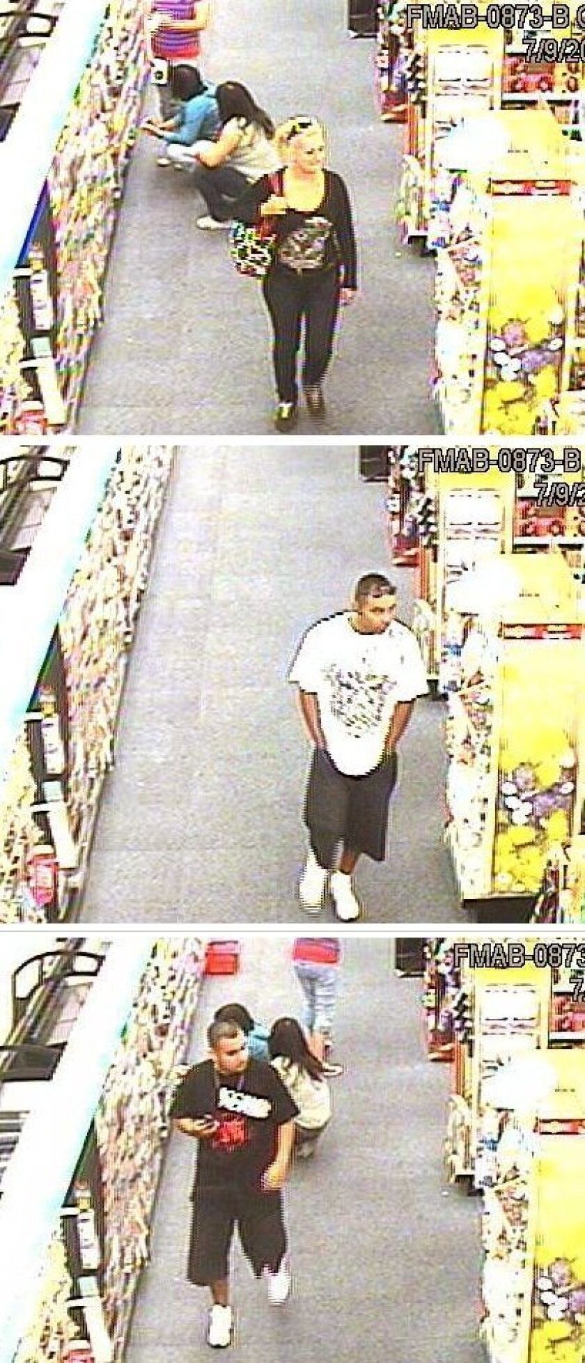 Store photos show suspects  wanted in a series of burglaries at pharmacies.
