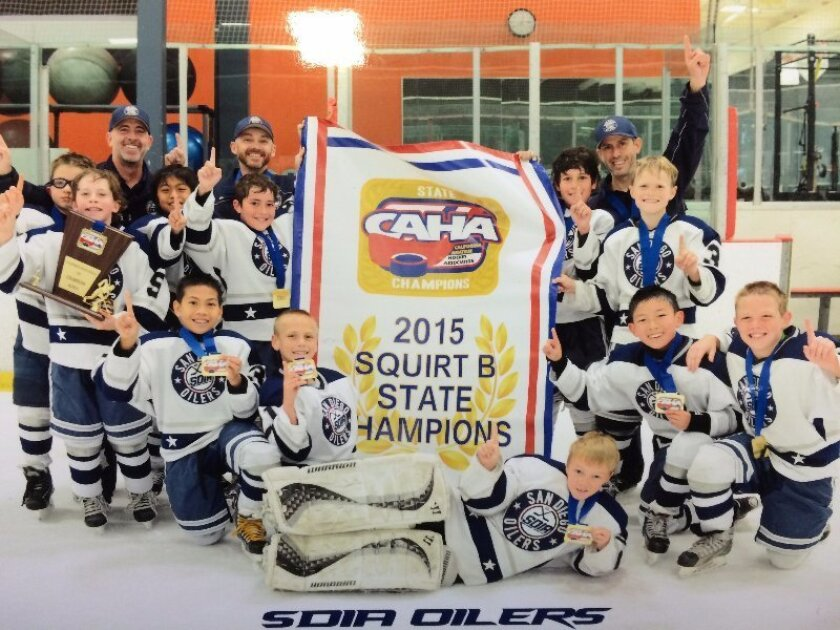 The San Diego Oilers Squirt B team won the 2015 California Amateur Hockey Assocation State Championship recently.