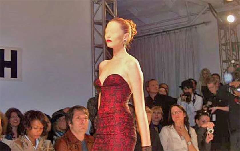 At the Joseph Domingo show, the eyes of the models with flesh colored gauze.