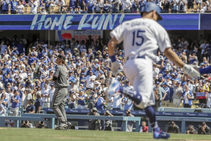 LOS ANGELES, CA, THURSDAY, MARCH 28, 2019 - Diamondbacks pitcher Zack Greinke waits as Dodgers catch