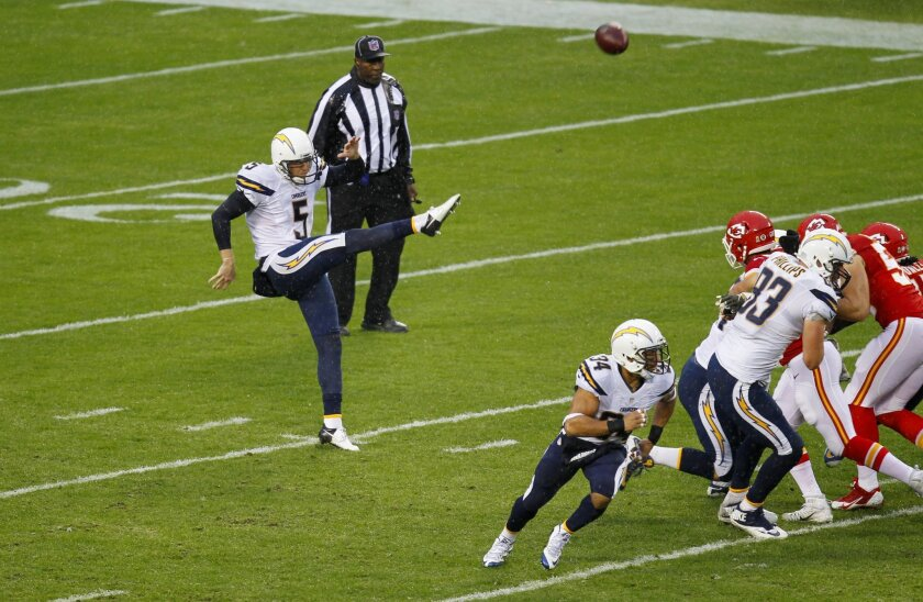 Chargers punter Mike Scifres punts against the Chiefs. The Chargers lost 10-3. ( K.C. Alfred/ San Diego Union-Tribune)