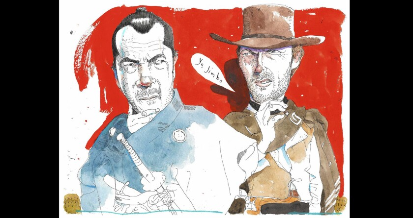 Toshiro Mifune from ('Yojimbo') and Clint Eastwood from ('A Fistful of Dollars').